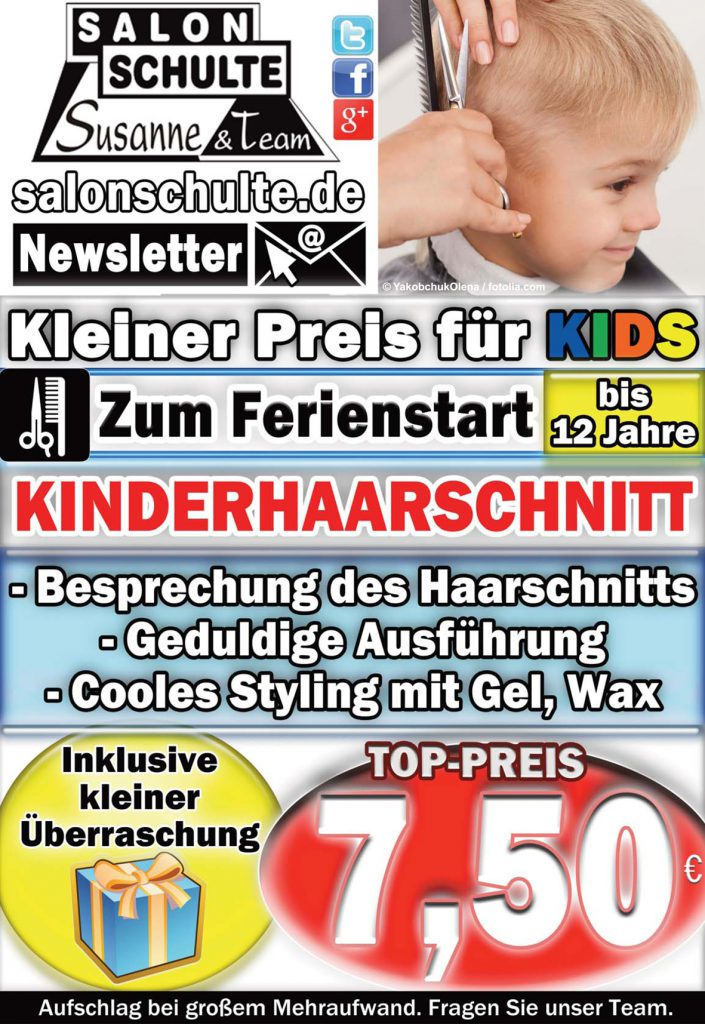 Angebot Kinderhaarschnitt im Juli